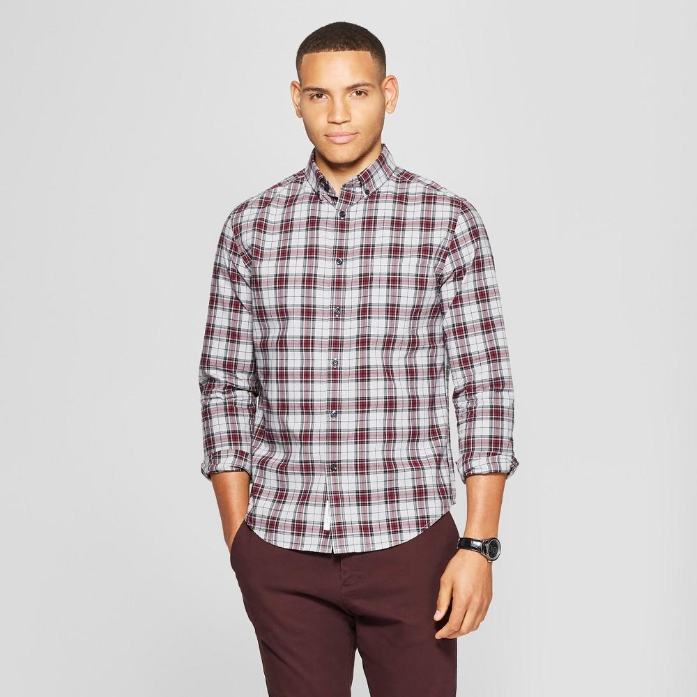 Men's Long Sleeve Standard Fit Northrop Poplin Button-Down Shirt - Goodfellow & Co Gray Mist XL