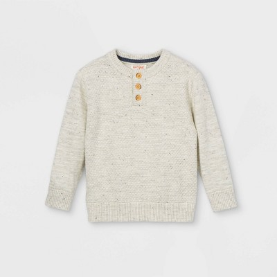 Toddler Boys' Knit Henley Pullover Sweater - Cat & Jack™ Heather Gray