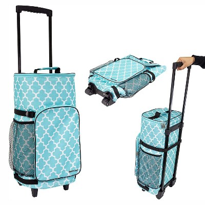 dbest products Ultra Compact Extended Insulated 45 Can Smart Cart Rolling Cooler with Heavy Duty Wheels and Telescoping Handle, Blue Moroccan Tile