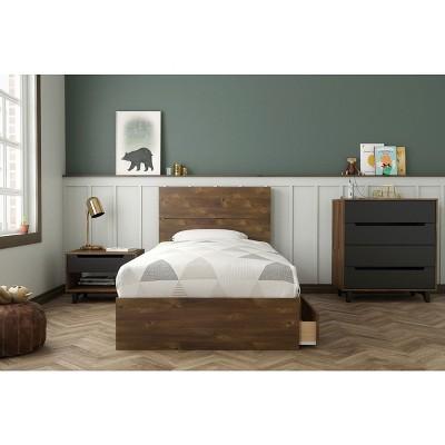 4pc Twin Oscuro Bedroom Bundle Truffle/Black - Nexera