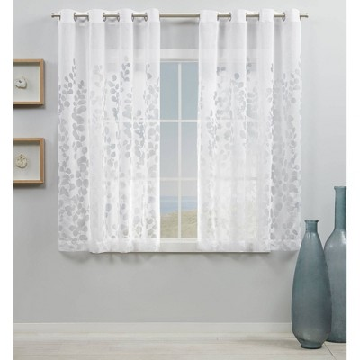 "Set of 2 63""x54"" Wilshire Burnout Sheer Grommet Top Curtain Panel White - Exclusive Home"