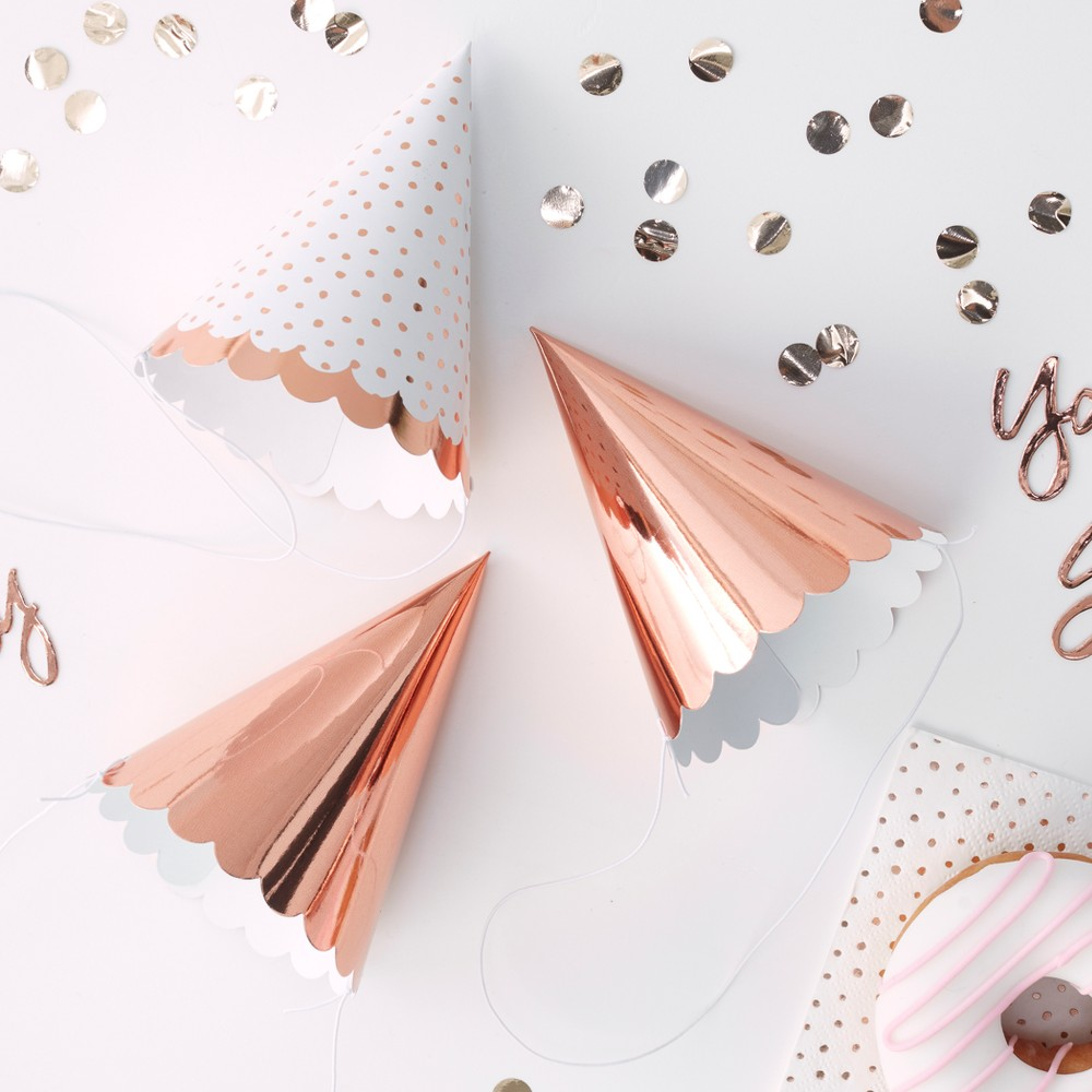 Image of 6ct Foiled Party Hats Rose Gold