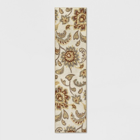 2'X7' Runner Floral Paisley Rug Beige - Threshold™ - image 1 of 3