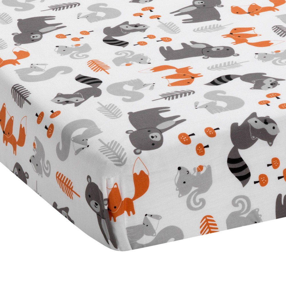 Image of Bedtime Originals Acorn Fitted Crib Sheet - Woodland Fox, Bear & Raccoon