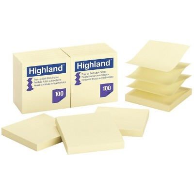 Highland Pop-Up Self-Stick Notes, 3 x 3 Inches, Yellow, Pad of 100, pk of 12