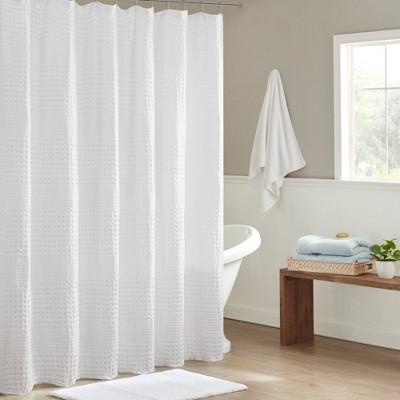 "72""x72"" Orinn Super Waffle Textured Shower Curtain White"
