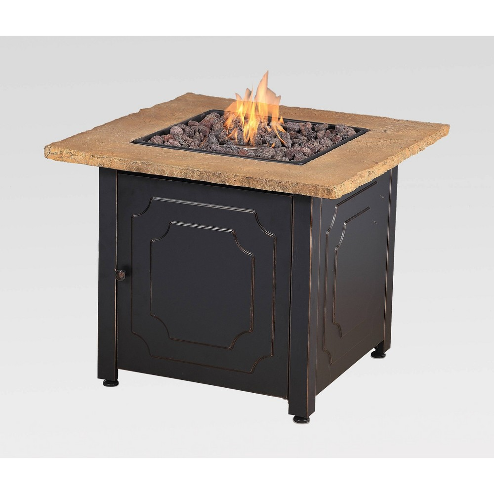 "Image of ""30"""" Outdoor Patio Gas Fire Pit with Faux Stone Mantel Gray - Endless Summer"""