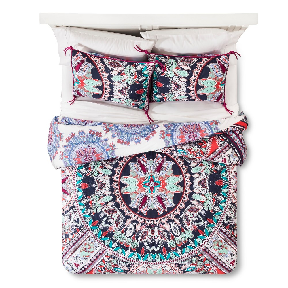 Image of Beach Babe Medallion Reversible Comforter Set (Full/Queen) 3pc - Boho Boutique, Multicolored