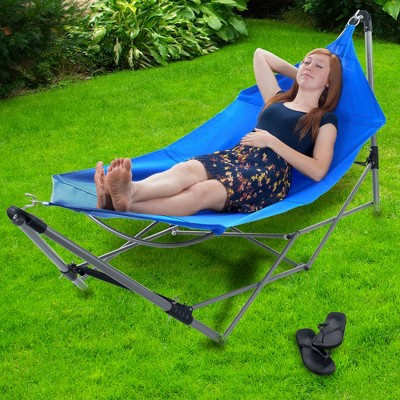 Stalwart Portable Hammock with Frame Stand and Carrying Bag - Blue