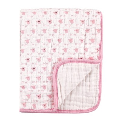 Hudson Baby Unisex Baby Muslin Tranquility Quilt Blanket - Pink Sheep One Size