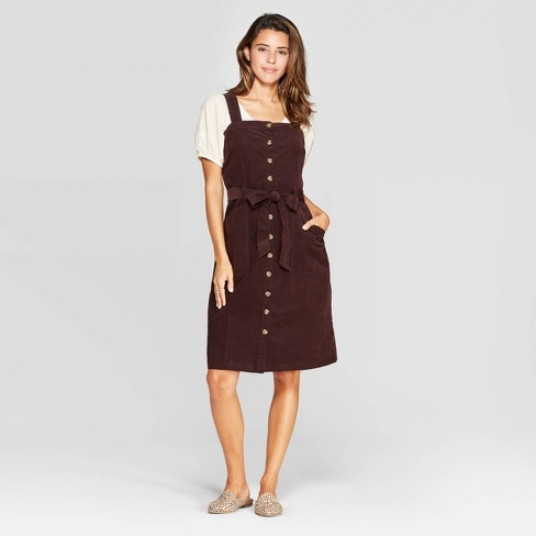 Women's Corduroy Sleeveless Square Neck Button Front Dress - Universal Thread™ Brown - image 1 of 3