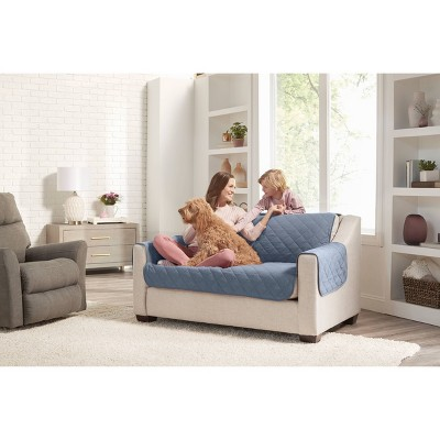 Reversible Loveseat Furniture Protector with Arms Blue/Cream - Sure Fit