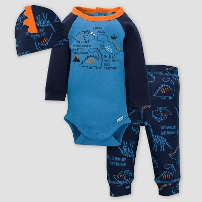 Gerber Baby Boys' 3pc Dinos Top and Bottom Set - Blue 0-3M