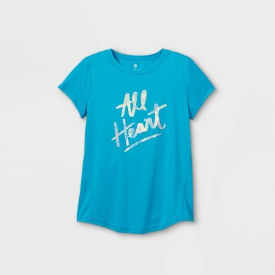 Girls' Short Sleeve 'All Heart' Graphic T-Shirt - All in Motion™ Turquoise