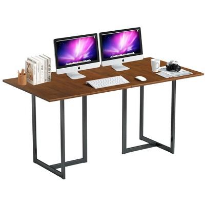 Costway 63'' Computer Desk Large Office Desk Study Workstation w/ Wood Top & Metal Frame