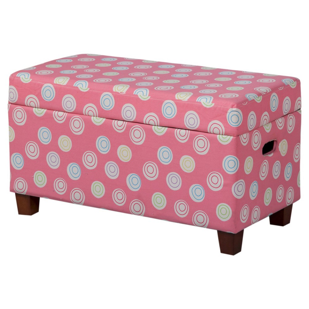 Image of Kids Deluxe Storage Bench Pink/White - HomePop
