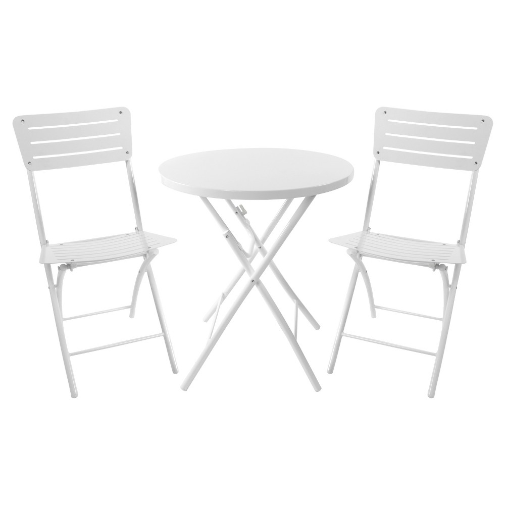 3pc Metal Patio Bistro Set White - Room Essentials