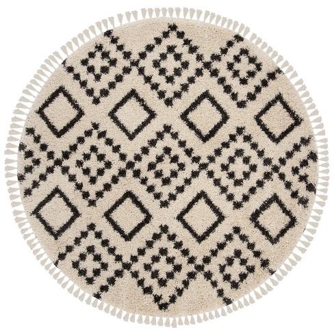 Loomed Tribal Design Round Area Rug