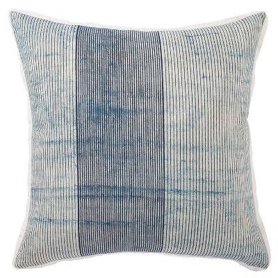 """22""""x22"""" Oversize Alicia Handmade Striped Down Filled Square Throw Pillow Blue/White - Jaipur Living"""