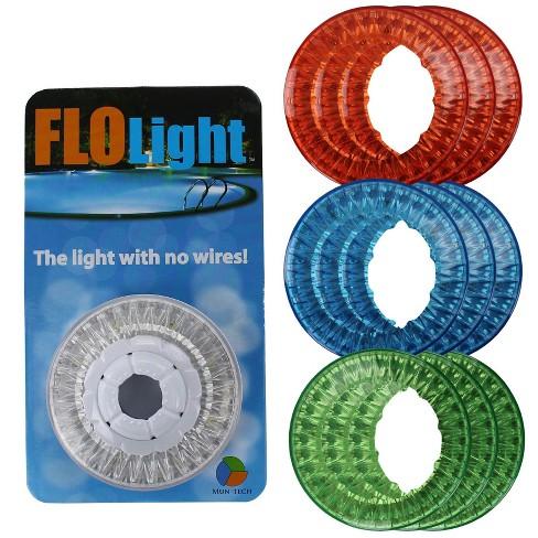 FloLight LED White Wireless Above Ground Swimming Pool Light + 9 Colored  Lenses