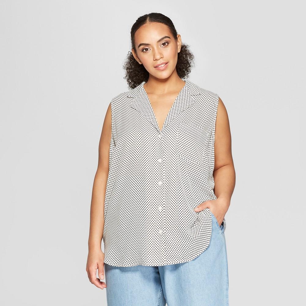 Women's Plus Size Polka Dot Sleeveless Button-Up Front Pocket Top - Who What Wear White 3X