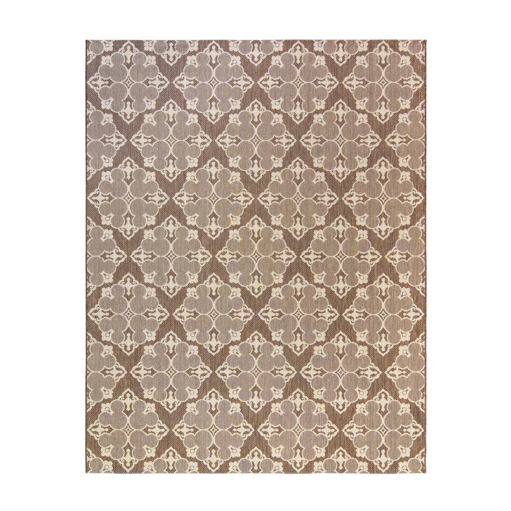 Image of 5'x7' Mickey Mouse & Friends Medallion Havana Outdoor Rug Brown