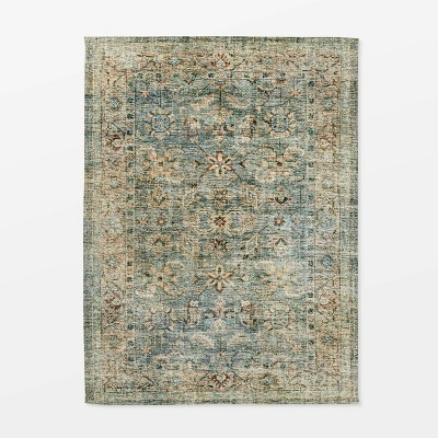 Ledges Digital Floral Print Distressed Persian Rug Green - Threshold™ designed by Studio McGee