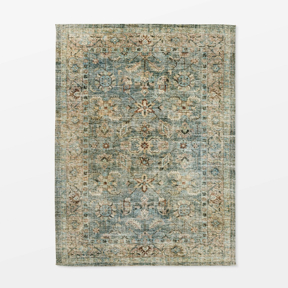 5 39 X7 39 Ledges Digital Floral Print Distressed Persian Rug Green Threshold 8482 Designed By Studio Mcgee