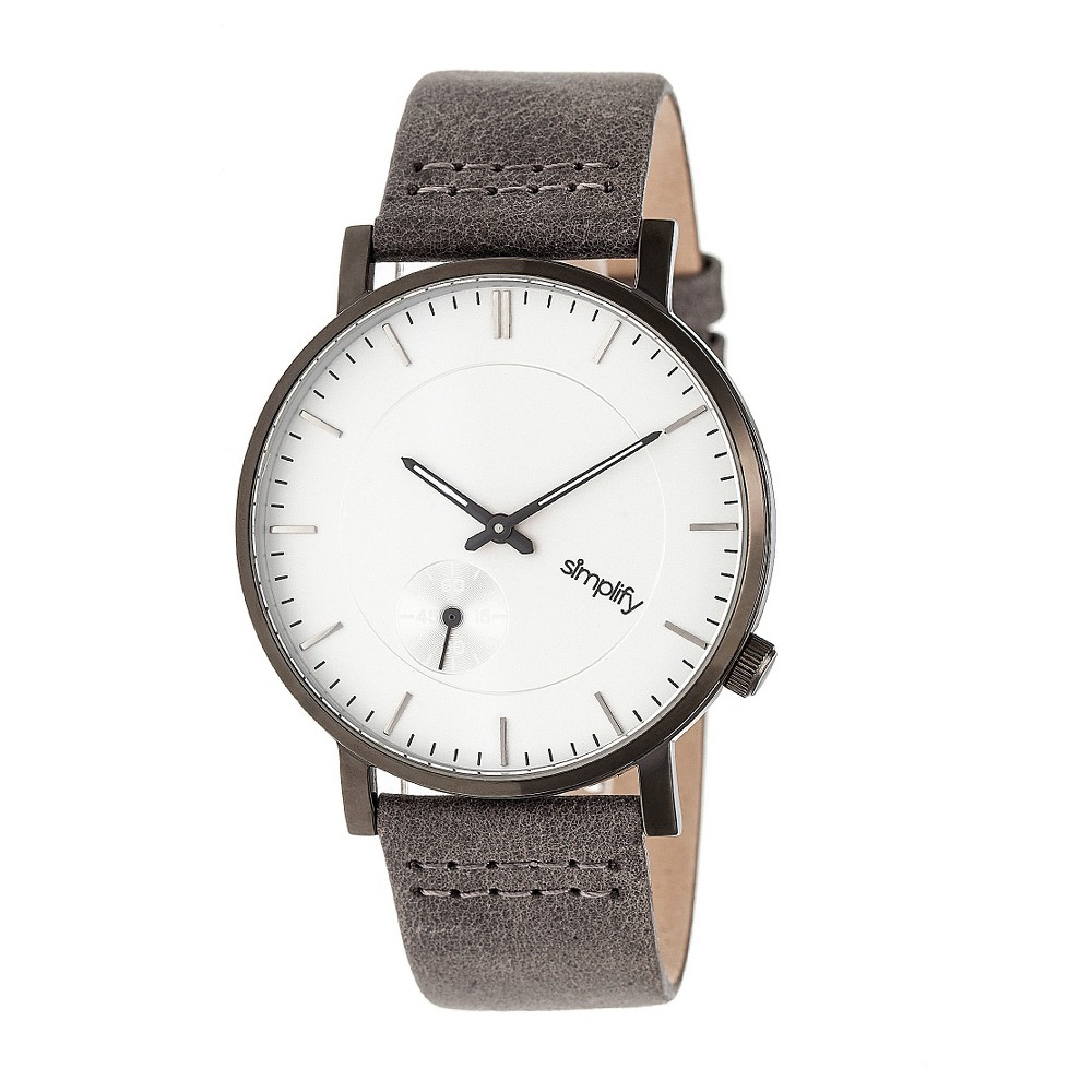 Image of Simplify The 3600 Men's Leather-Band Watch - Gunmetal/Silver/Gray, Size: Small, Grey/Silver/Gray