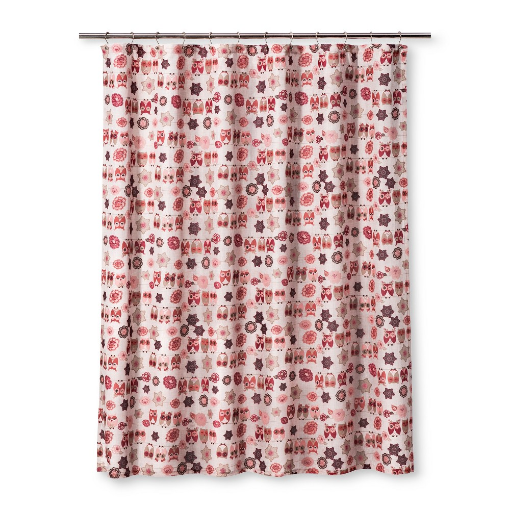 Image of Owl Ya Doin Shower Pink Curtain - Homewear