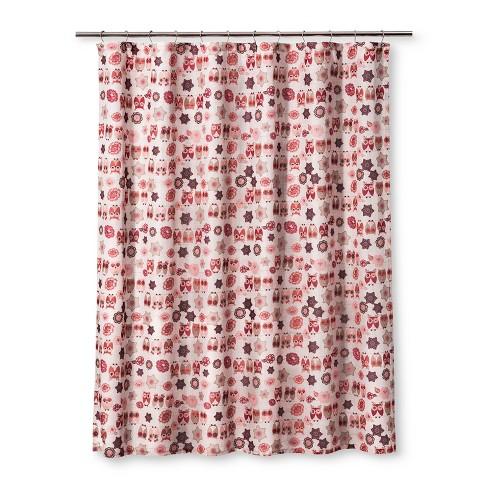 Owl Ya Doin Shower Pink Curtain