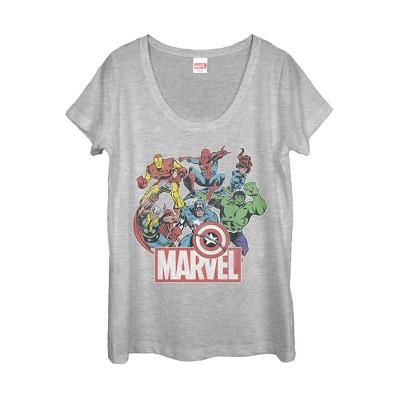 Women's Marvel Classic Hero Collage Scoop Neck
