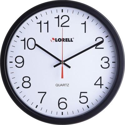 "Lorell Clock Wall Quartz Silent Sweep 12-1/2"" Black 61008"