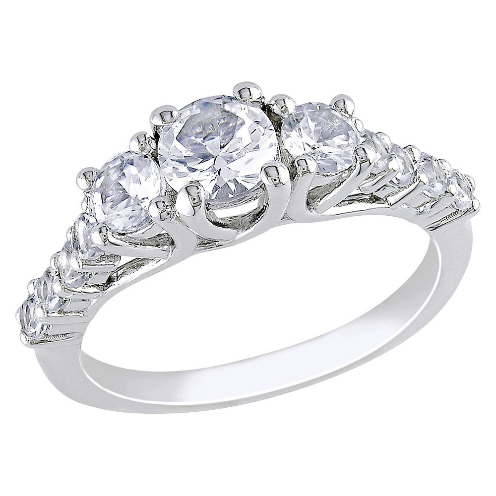 1 3/8 CT. T.W. White Sapphire Cocktail Ring - Silver - 8 - Silver, Multicolored
