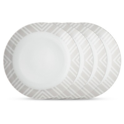 Cheeky® Byron 10.5  Porcelain Dinner Plate - Gray Geometric Border - 4-pack