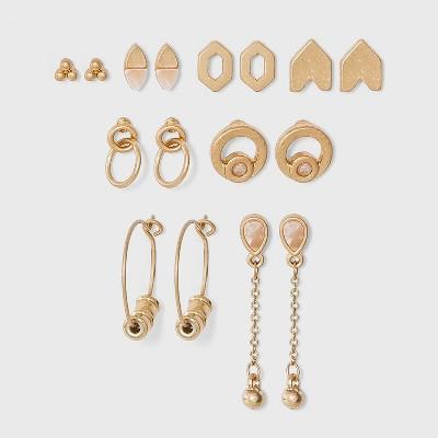 Geometric and Mixed Semi-Precious Multi Earring Set 8pc - Universal Thread™ Gold