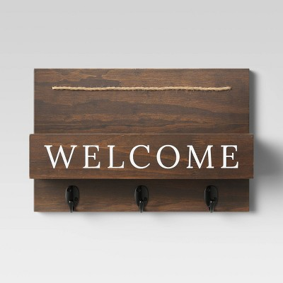 "15"" x 10"" Wood Welcome Mail Station Walnut - Threshold™"