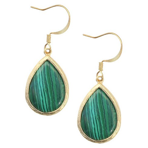 Malachite Fish Hook Earring - Green - image 1 of 1