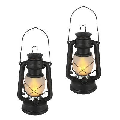 Everlasting Glow 9.5-Inch Tall Black Hurricane-Style Camping Lantern with FireGlow™ and Dimmer Switch (Set of 2)
