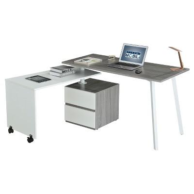 Rotating Multi Positional Modern Desk Light Gray - Techni Mobili