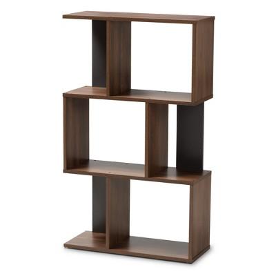 "40.2"" Legende Finished Display Bookcase Brown/Dark Gray - Baxton Studio"