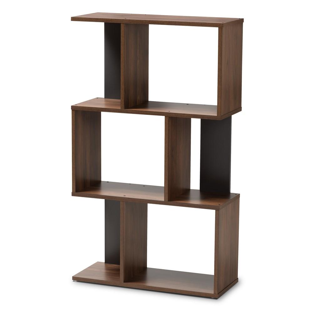"Image of ""25.36"""" Legende Finished Display Bookcase Brown/Dark Gray - Baxton Studio, Gray Brown"""