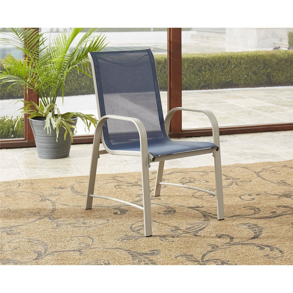 6pc Paloma Steel 38 Sling Motion Patio Dining Chairs Blue Gray Room 38 Joy