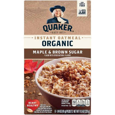 Quaker Organic Instant Oatmeal Maple and Brown Sugar - 8ct
