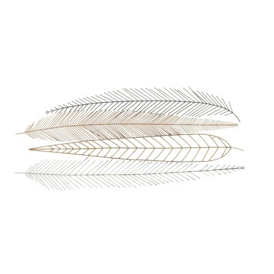 """18"""" x 42"""" Extra Large Metallic Feather Sculptures Metal Wall Decor - CosmoLiving by Cosmopolitan"""