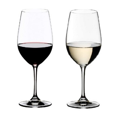 Riedel 14 Ounce Vinum Riesling Grand Cru and Zinfandel Clear Crystal Glass Set for White and Red Wines with Microfiber Polishing Cloth, (2 Pack)