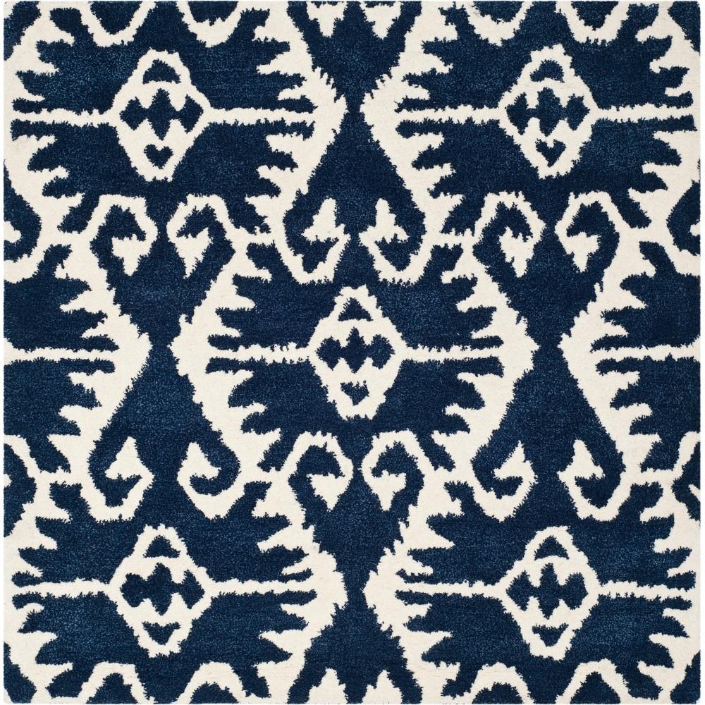 5'X5' Tribal Design Tufted Square Area Rug Royal Blue/Ivory - Safavieh