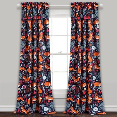 Pixie Fox Curtain Panels Navy/Orange- Lush Décor