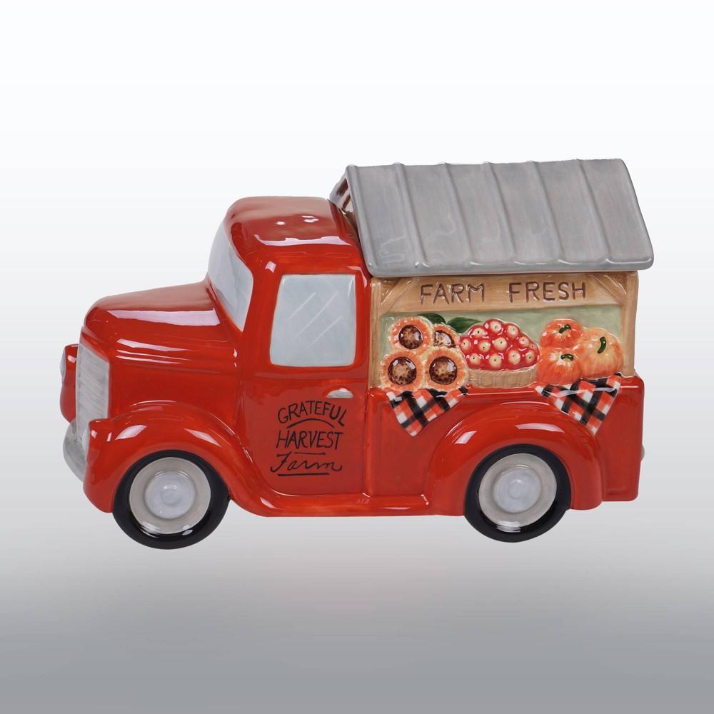 Image of 104oz Porcelain Harvest Bounty Truck Cookie Jar Orange - Certified International
