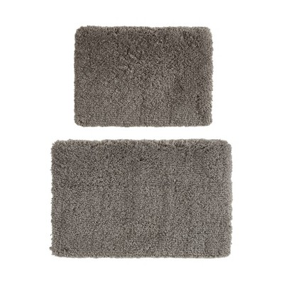 17 x24  2pc Juno Tufted Solid Bath Rug Set Charcoal